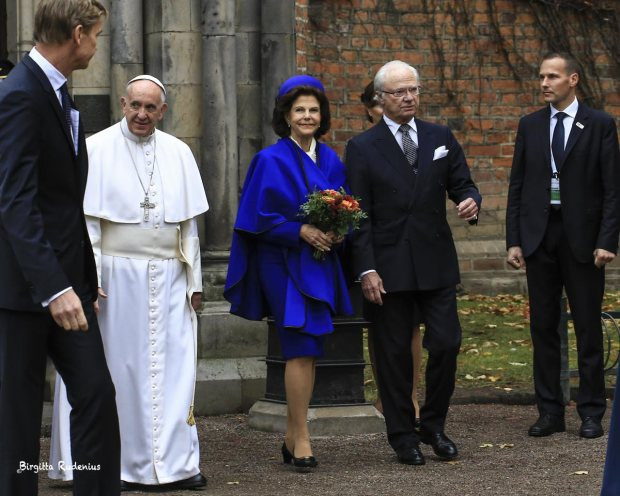 Pope Franciskus, The Swedish King and Queen in Lund Sweden 2016-10-31.