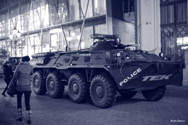 Police tank at Christmas Market Budapest