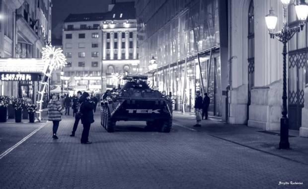 Police tank at Christmas Market Budapest