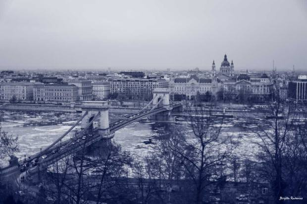Blue Photo - View over Pest side in Budapest