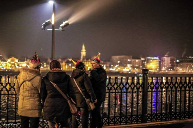 People in Budapest Celebrating New Year 2017.