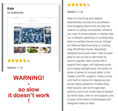 Warning for Theme Kale at WordPress!