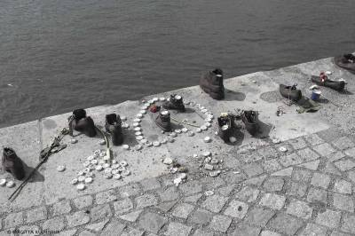 Memorial Shoes on the Danube bank, Budapest.