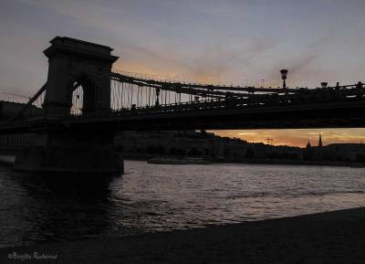Chain Bridge over the Danube in Sunset.