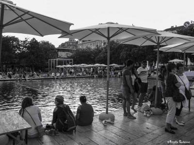 Relaxing in Déak Tér, Budapest.