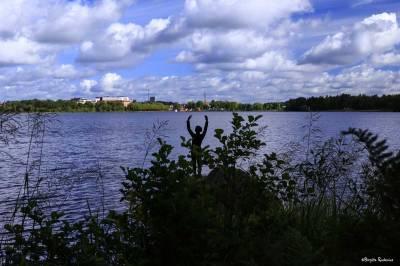 Staty vid Växjösjön i Växjö.