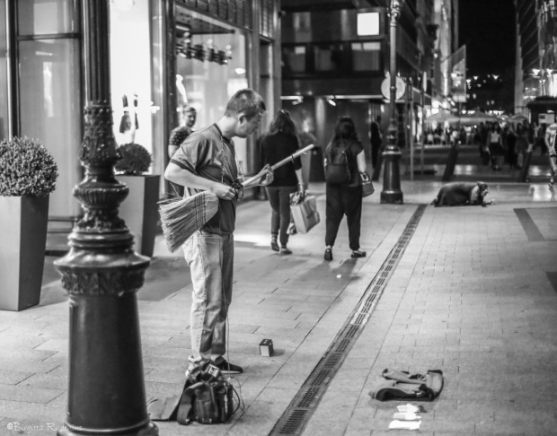 Street Photo Musician in Budapest.