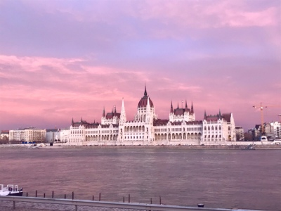 Promising sky over Parliament in Budapest.
