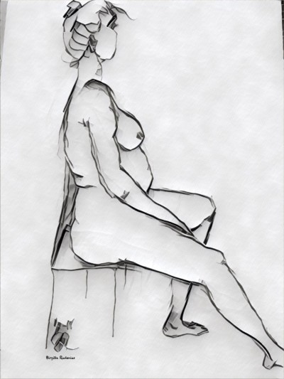 Kroki - Sketch - She is sitting.