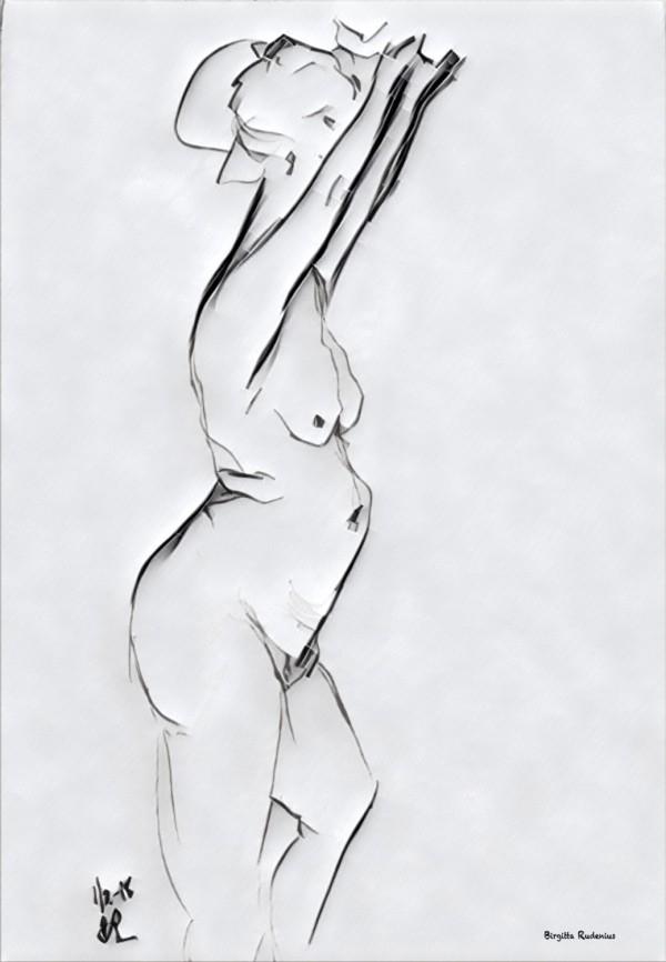 Kroki - Sketch - She is standing.