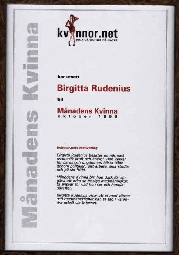 Månadens kvinna 1999 - Birgitta Rudenius.